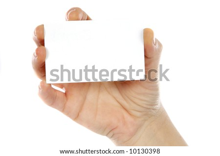 Hand whit a card a over white background - stock photo