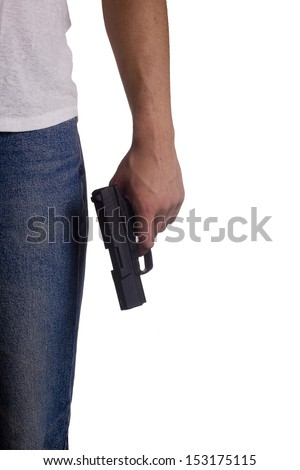 Hand white man with a gun. Crime. - stock photo