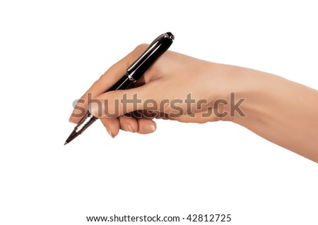 hand whith black pen as sign or symbol - stock photo