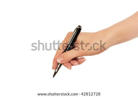 hand whith black pen as sign or symbol