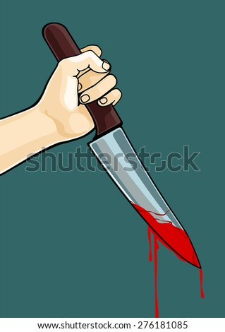 Hand with a blooded knife (raster version) - stock photo