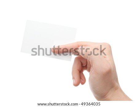 Hand with a card a over white background - stock photo