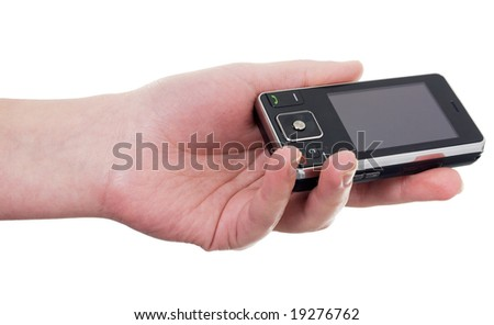 Hand with a cellular telephone on a white background