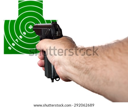Hand with a gun aimed at the target isolated on a white background - stock photo