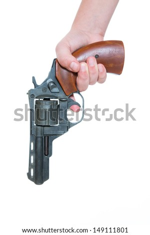 hand with a gun on a white background - stock photo