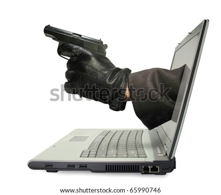 Hand with a gun stick out from laptop monitor.