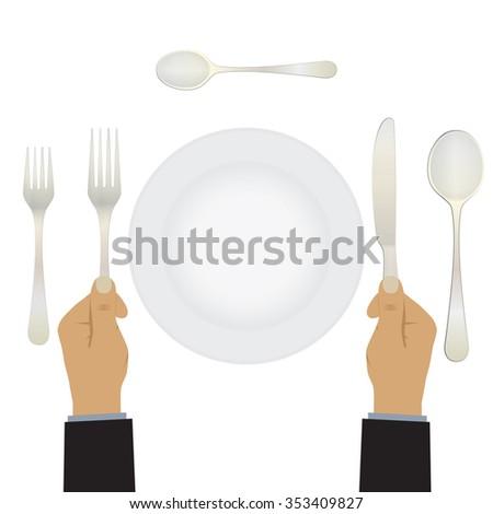 Hand Knife Fork Tableware Table Setting Stock Illustration 353409827 ...