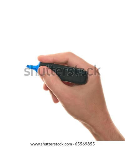 Hand with a marker isolated over white - stock photo