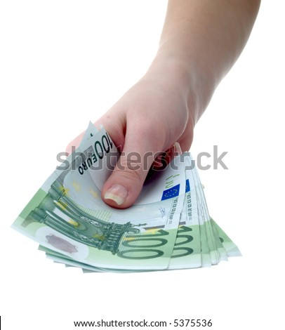Hand with a pack of paper money - stock photo