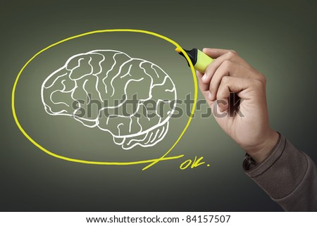 hand with a pen drawing brain - stock photo
