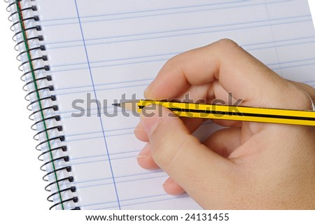 Hand with a pencil and notebook on a over white background - stock photo