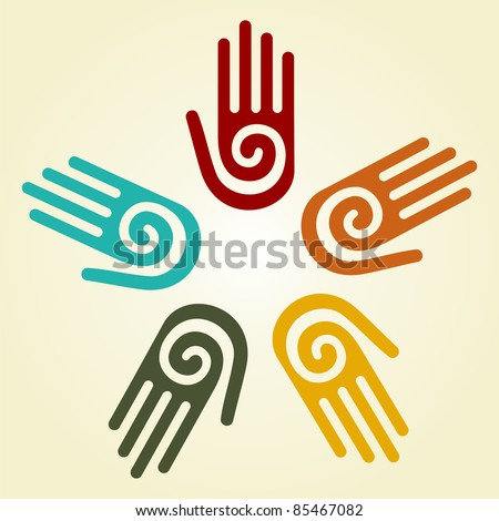 Hand with a spiral symbol on the palm, on a circle of hands background. - stock photo