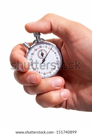 Hand with a stopwatch. Isolated on white background. - stock photo