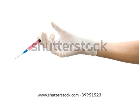 Hand with a syringe. Isolation on the white