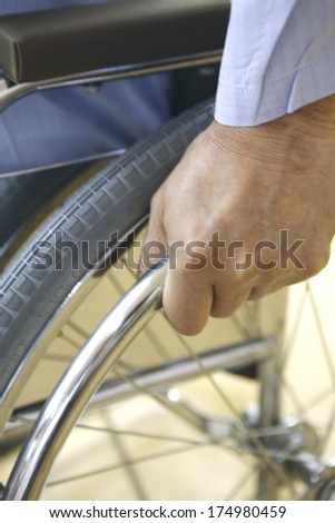 Hand with a wheelchair