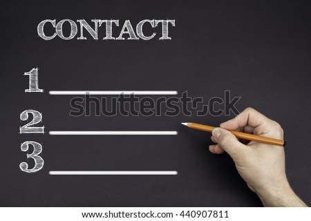 Hand with a white pencil writing: Contact blank list