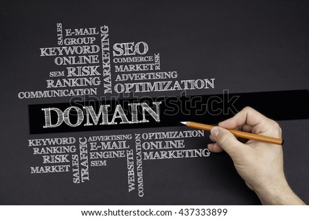 Hand with a white pencil writing: Domain word cloud - stock photo