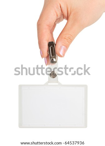 Hand with badge isolated on white background