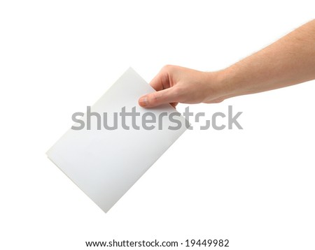 Hand with ballot isolated on white background - stock photo