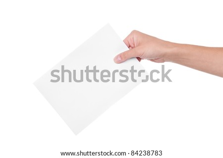 Hand with ballot isolated on white background
