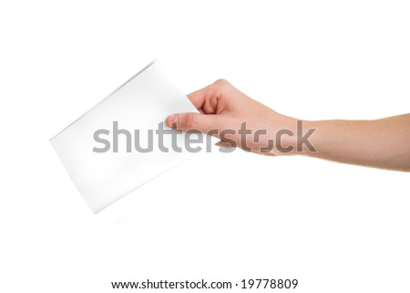Hand with ballot on white background. - stock photo