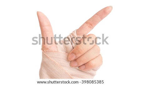 hand with bandage in white background - stock photo