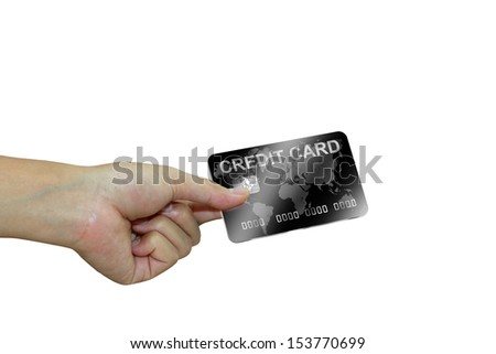 Hand with black credit card. Business concept. - stock photo