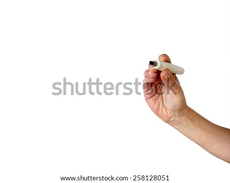 Hand with black marker on transparent whiteboard - stock photo