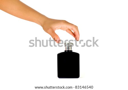 Hand with Black perfume isolated on a white background - stock photo