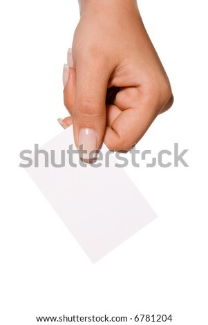 Hand with blank business cards - stock photo