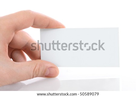 hand with blank card