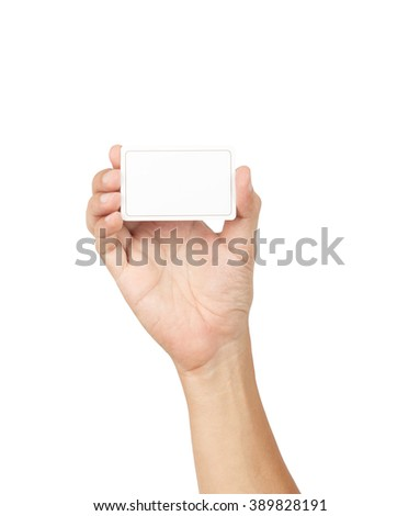 Hand with blank card isolated on white background with clipping path - stock photo