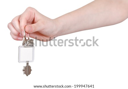 hand with blank key fob isolated on white background