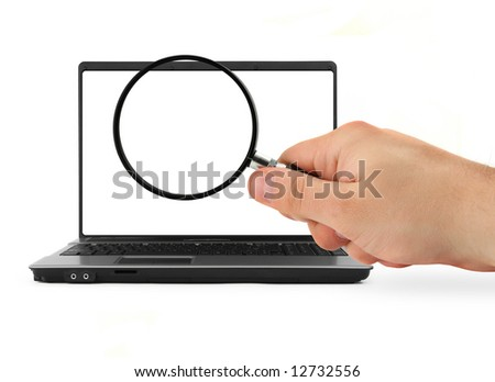 hand with blank magnifying glass and notebook on white background - stock photo