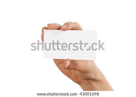 hand with blank white square for advertising - stock photo