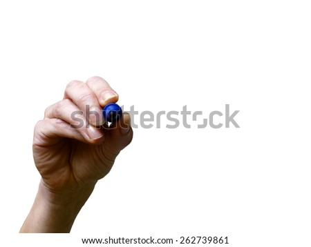Hand with blue marker on transparent whiteboard - stock photo