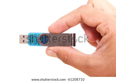 Hand with blue usb on white background