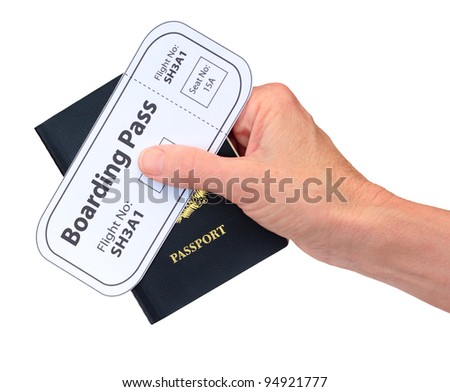 Hand with Boarding Pass and Passport isolated - stock photo