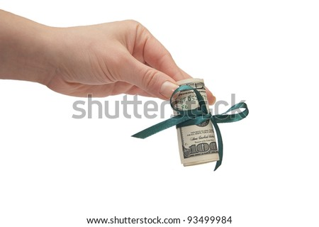 Hand with bowed money isolated on a white