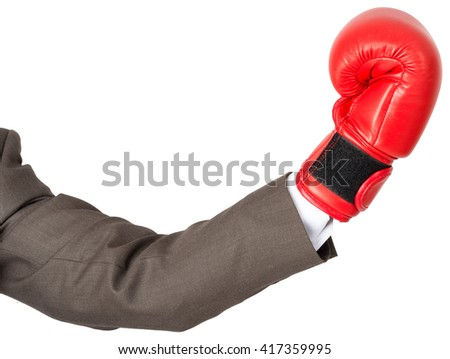 Hand with boxing glove isolated on white background