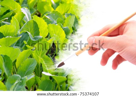 Hand with brush painting natural image with blossom. Spring concept. - stock photo