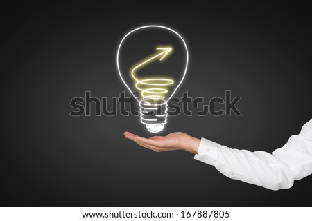 Hand  with bulb - stock photo