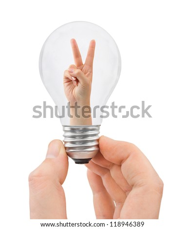 Hand with bulb and victory sign isolated on white background - stock photo