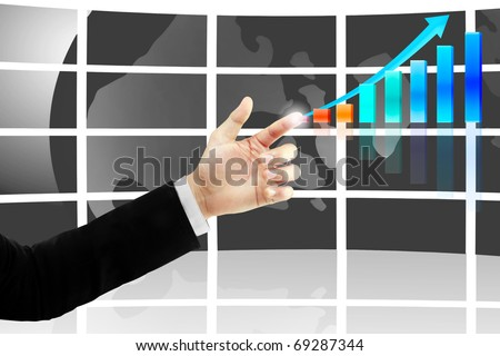 hand with business graph
