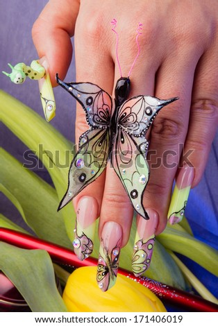 Hand with butterfly and caterpillar -extreme nail arts