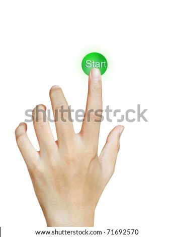 hand with button - stock photo