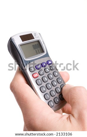 hand with calculator, number 777 on it display