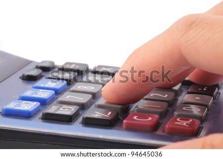 hand with calculators - stock photo
