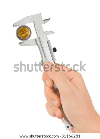 Hand with caliper isolated on white background - stock photo