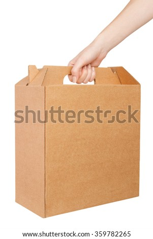 Hand with cardboard box isolated on white background.  - stock photo